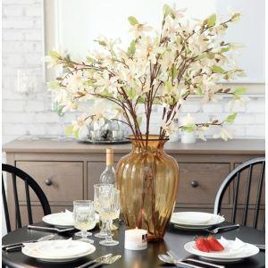 Magnolie Seidenblumen, winzige Glas Vase(Bernstein) Blumenschmuck