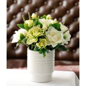 Gardenien Seidenblumen, weiße Spirale Keramik Vase