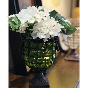 Schottland Hortensien Seidenblumen, Metall Vintage Glass Vase