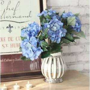 Schottland Hortensien Seidenblumen, Silber Keramik Vase