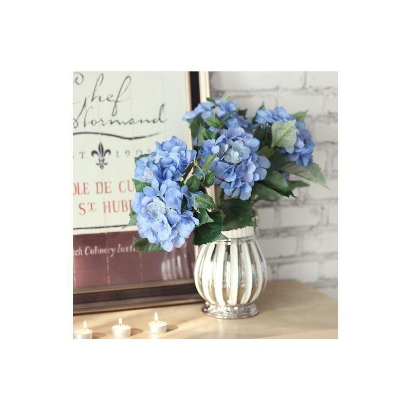 ausverkauft schottland hortensien seidenblumen silber keramik vase. Black Bedroom Furniture Sets. Home Design Ideas