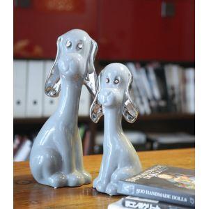 Zeitgenössische Galvanisiert Keramik Hund Ornament-grau (sich separat verkaufen)