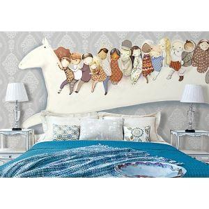 Zeitgenössische Traum Pferde Kinder Vlies-Papier-Wandbild