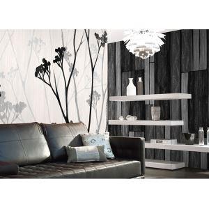 Zeitgenössische grau Holzplatte Vlies Papier-Tapeten
