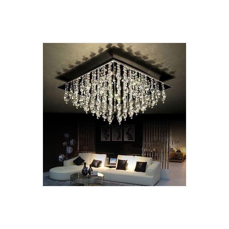 led deckenleuchte kristall modern eckig 16 flammmig. Black Bedroom Furniture Sets. Home Design Ideas