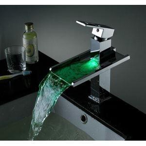 (EU Lager)LED Wasserfall Wasserhahn Bad Waschtischarmatur