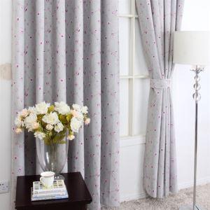 (1er Pack) American Style Druck Blumenmuster Grau aus Polyester Energieeinsparung Vorhänge