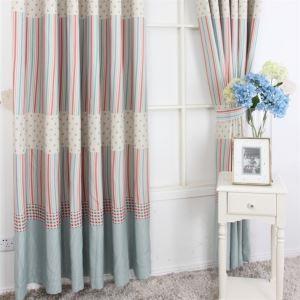 (1er Pack) Contemporay Print Streifen Muster Rot Und Blau Polyester Energieeinsparung Vorhänge