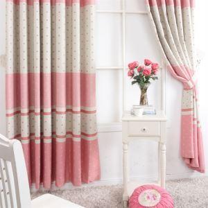 (1er Pack) Contemporay Print Streifen Muster Rot Und Grau aus Polyester Energieeinsparung Vorhänge