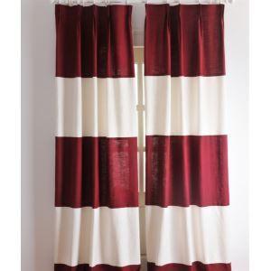 (1er Pack) Neoklassische Stripe  Rote und weiße Energieeinsparung Vorhänge-2039