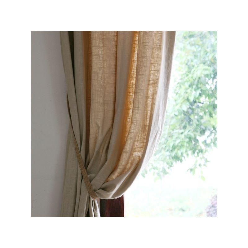 vorh nge halbtransparente gardinen landhaus stil natur leinen energiespar vorhang eine tafel. Black Bedroom Furniture Sets. Home Design Ideas