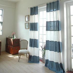 Moderne Streifen weiß und blau Leinen Energiespar Vorhang-843