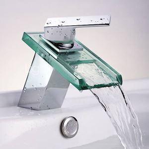 (EU Lager) Modern Zeitgenössisch Wasserfall Waschtischarmatur Einhand (MS19)