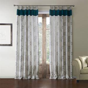 ( 1er Pack )  Landhaus Jacquard Grau Floral Muster Polyester Energiesparungsvorhang-610