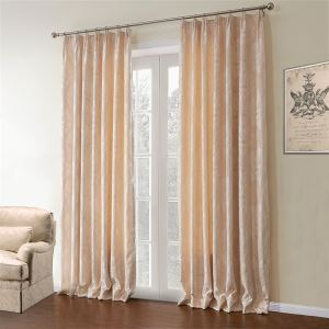 ( 1er Pack )  Landhaus Jacquard Beige Floral Muster Polyester & Baumwolle Energiesparungsvorhang-621