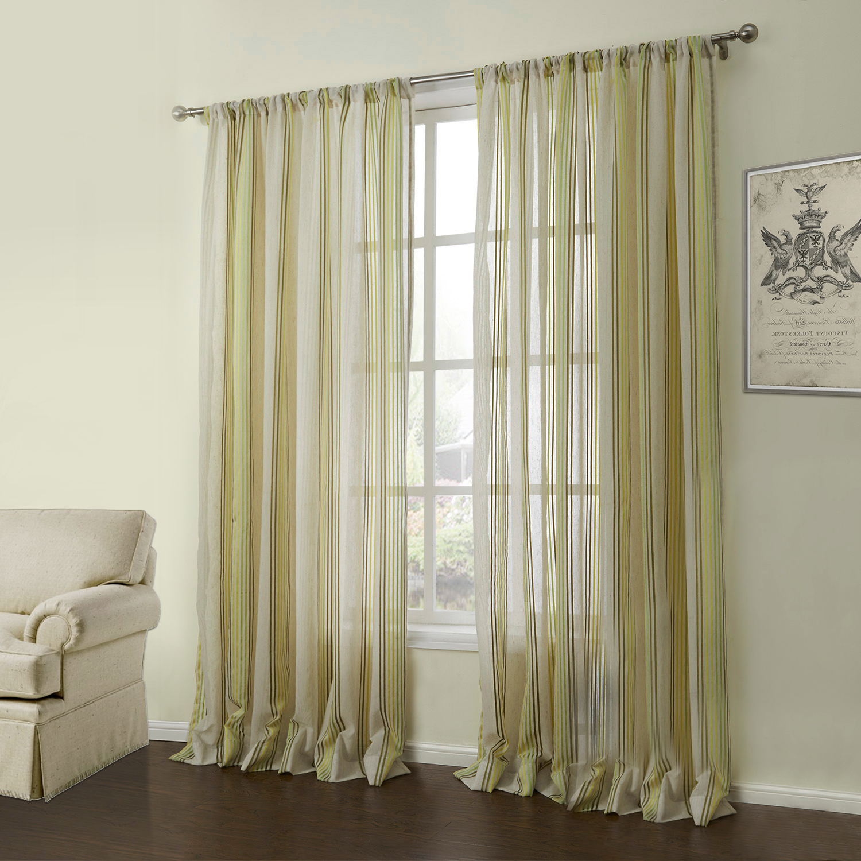 ausverkauft 1er pack modern jacquard gelb gr n streife muster leinen gardine 05. Black Bedroom Furniture Sets. Home Design Ideas