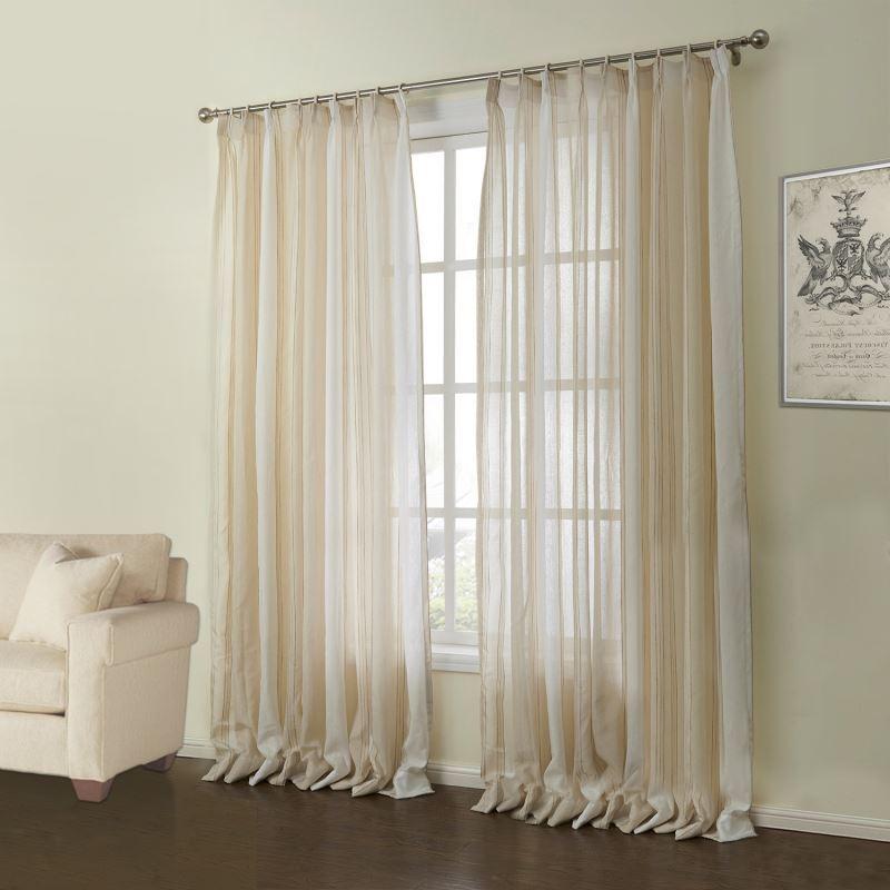 vorh nge transparente gardine 1er pack modern jacquard beige streife muster leinen. Black Bedroom Furniture Sets. Home Design Ideas