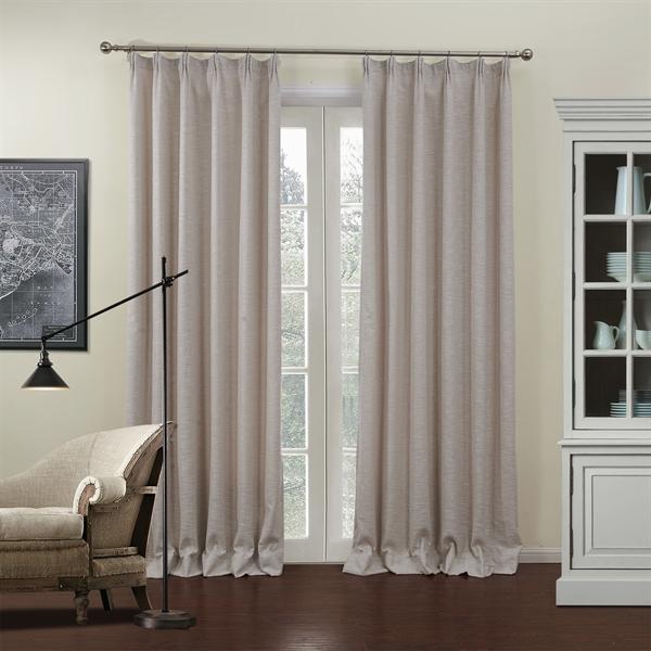 vorh nge verdunkeldungsvorh nge 1er pack landhaus jacquard beige unifarbe leinen. Black Bedroom Furniture Sets. Home Design Ideas