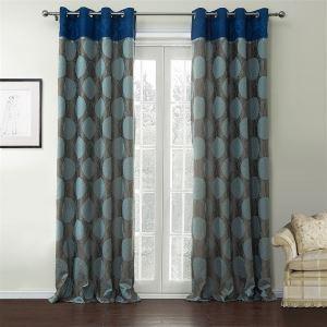 ( 1er Pack ) Landhaus Jacquard Blau & Grau Geometrisch Muster Kunstseide Energiesparungsvorhang-537