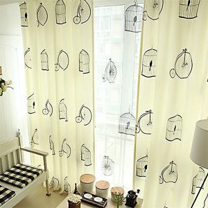 ( 1er Pack ) Modern Druck Beige Geometrisch Muster Polyester & Leinen Kindervorhang-3