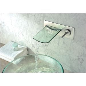 (EU Lager) Wasserhahn Bad Einhand Chrom Glas Wasserfall Wandmontage