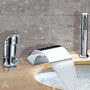 (EU Lager) Chrom zwei Griffe Wasserfall zeitgenössische Badewannenarmatur Wasserhahn mit Handbrause