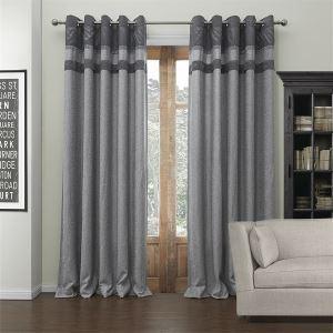 ( 1er Pack ) Modern Jacquard Grau Streife Muster Polyester & Baumwolle Energiesparvorhang-549