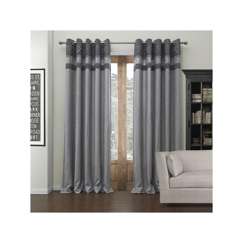 gardinen deko graue vorh nge muster gardinen. Black Bedroom Furniture Sets. Home Design Ideas