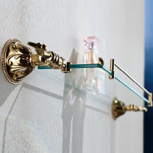 (EU Lager)Zeitgenössisch Ti-PVD Oberfläche Golden Badablage Messing Wandmontage Glasablage mit Reling
