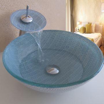 ausverkauft eu lager landhaus blau floral rund glas waschbecken mit wasserhahn. Black Bedroom Furniture Sets. Home Design Ideas