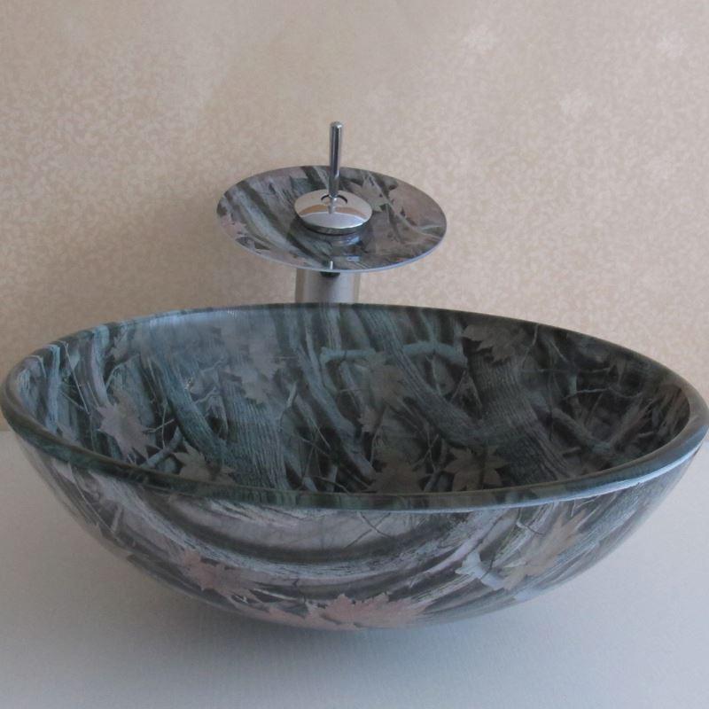 ausverkauft eu lager landhaus ahornblatt rund glas waschbecken mit wasserhahn. Black Bedroom Furniture Sets. Home Design Ideas