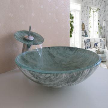 ausverkauft eu lager glas waschbecken gr n rund mit wasserhahn ablaufgarnitur und montagering. Black Bedroom Furniture Sets. Home Design Ideas