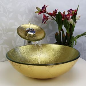 (EU Lager) Landhaus Glas Waschbecken Set Rund Gold