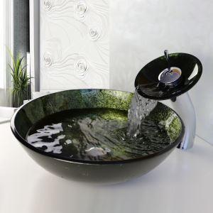 (EU Lager) Waschbecken Set Landhaus Glas Rund Dunkelgrün Mit Wasserfall Wasserhahn