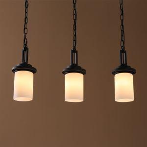 (EU Lager)Landhaus Stil Eisen Malerei Schwarze Leuchte mit Glasschirm