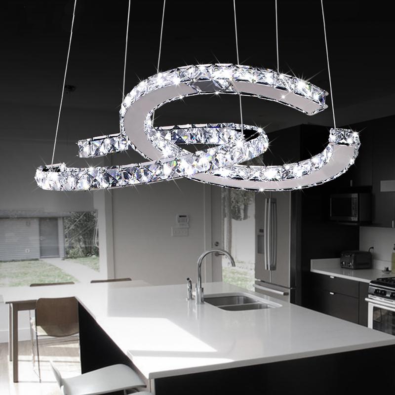 beleuchtung stil moderne leuchten eu lager 32w led luxuri se edelstahl kristall pendelleuchte. Black Bedroom Furniture Sets. Home Design Ideas