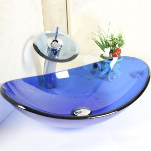 (EU Lager) Modern Blau Oval Glas Waschbecken mit Wasserfall Armatur Set