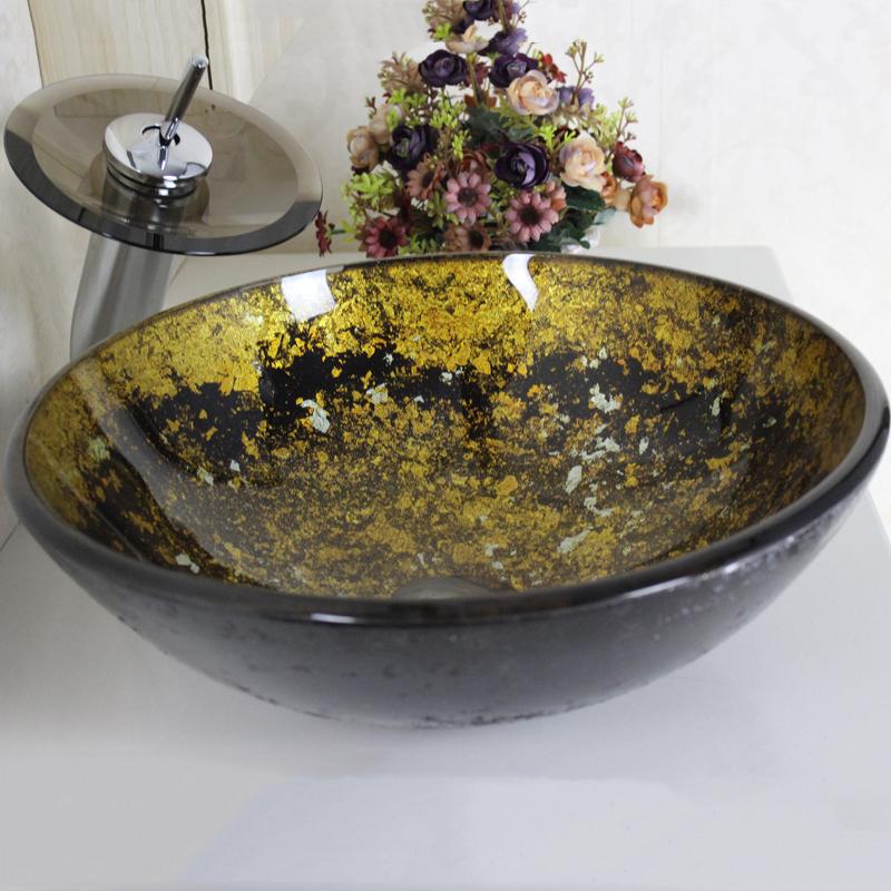 ausverkauft eu lager modern rund glas waschbecken wasserfall armatur set. Black Bedroom Furniture Sets. Home Design Ideas