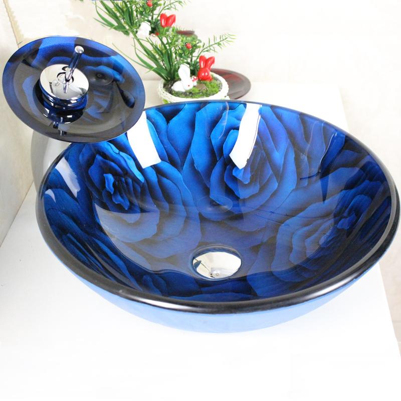 eu lager blau rose rund glas waschbecken wasserfall armatur set. Black Bedroom Furniture Sets. Home Design Ideas