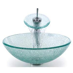 (EU Lager) Gehärtetes Glas Rund Waschbecken mit Wasserablauf und Einhebel Armatur und Montage Ring