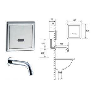 (EU Lager)Zeitgenössische Sensor berührungsfreie Wandmontage Badezimmer Waschtischarmatur-Chrom Oberfläche(Kalt)