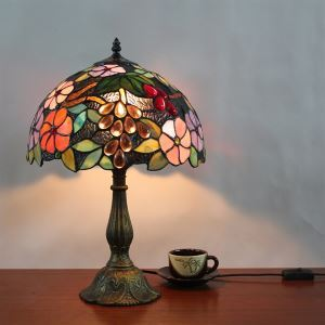 (EU Lager)Florentine Tischleuchte im Tiffany Stil 1 flammig D30cm
