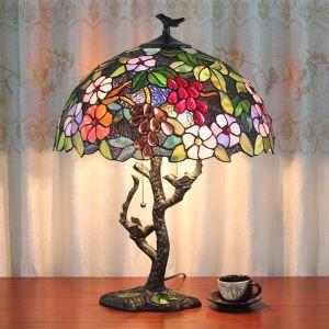 (In Stock)Tiffany Tischleuchte Landhaus Stil Rose Design 2 Flammig