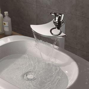 (EU Lager)Schöne Waschtischarmatur Modern Wasserfall Wasserhahn Einhand Verchromt