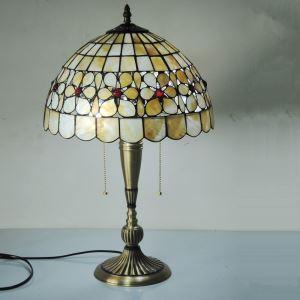(EU Lager)Europäisch Landhaus Stil 12 Zoll 2 flammig Tiffany Tischlampe Kupfer Untergestell