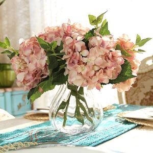 Hortensie Kunstblume+Glas Vase