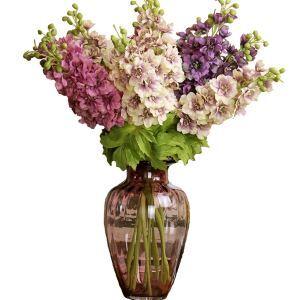 Rittersporne Kunstblume+Glas Vase