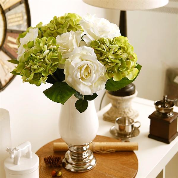 ausverkauft hortensie rose kunstblumen vase set. Black Bedroom Furniture Sets. Home Design Ideas