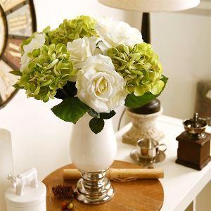 Hortensie&Rose Kunstblumen+Vase Set
