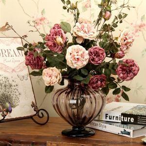 Rose Kunstblume+Glas Vase